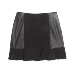 MADEWELL Black Leather Panel Boulevard Mini Skirt